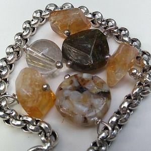 Sterling Silver Rolo Chain Multi GemStone Bracelet